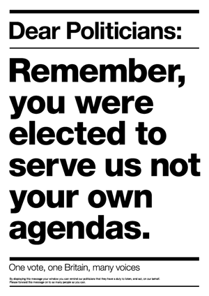 Dear Politicians: Remember, you were elected to serve us, not your own agendas.